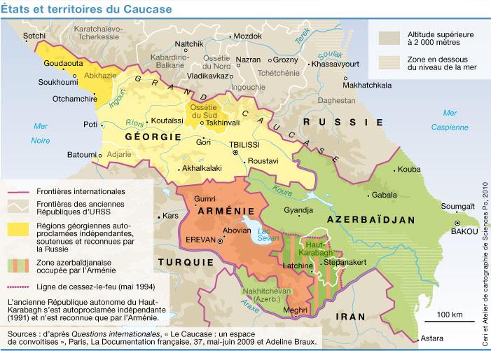 Kaukaz, Caucase, mapa