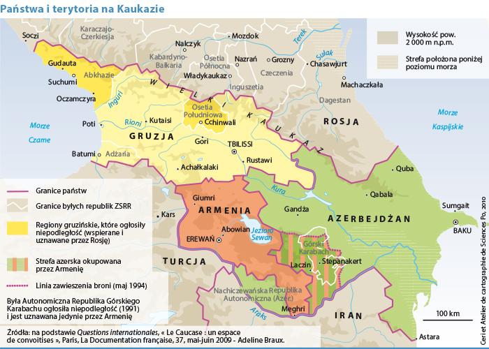 Mapa Kaukazu Nowa Geopolityka